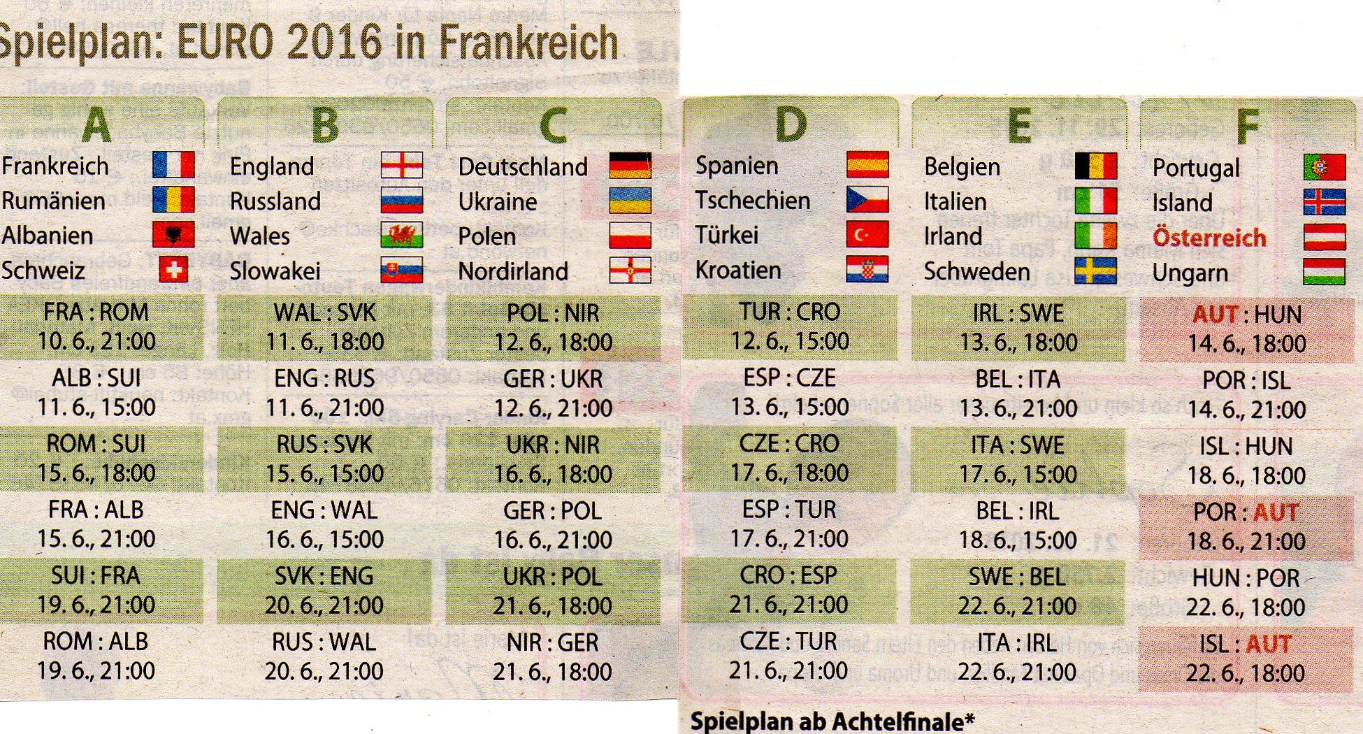 Spielplan Frankreich 2016